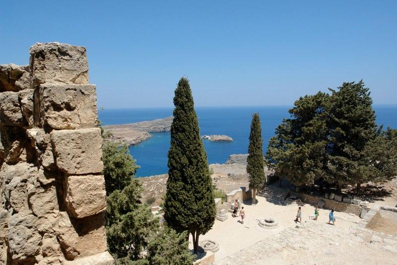 Blick von der Akropolis von Lindos